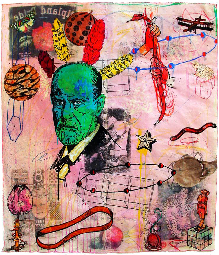 Take Freud With Feathers Above Paint Collage And Mixed Media On Paper 44 Inches High By 39 Wide In A Photo Reproduced The Lower Left Corner